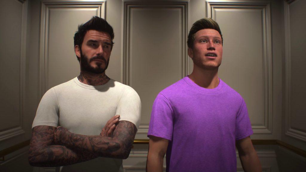 Screenshot Zwei Spieler, einer in weiß, einer in lila