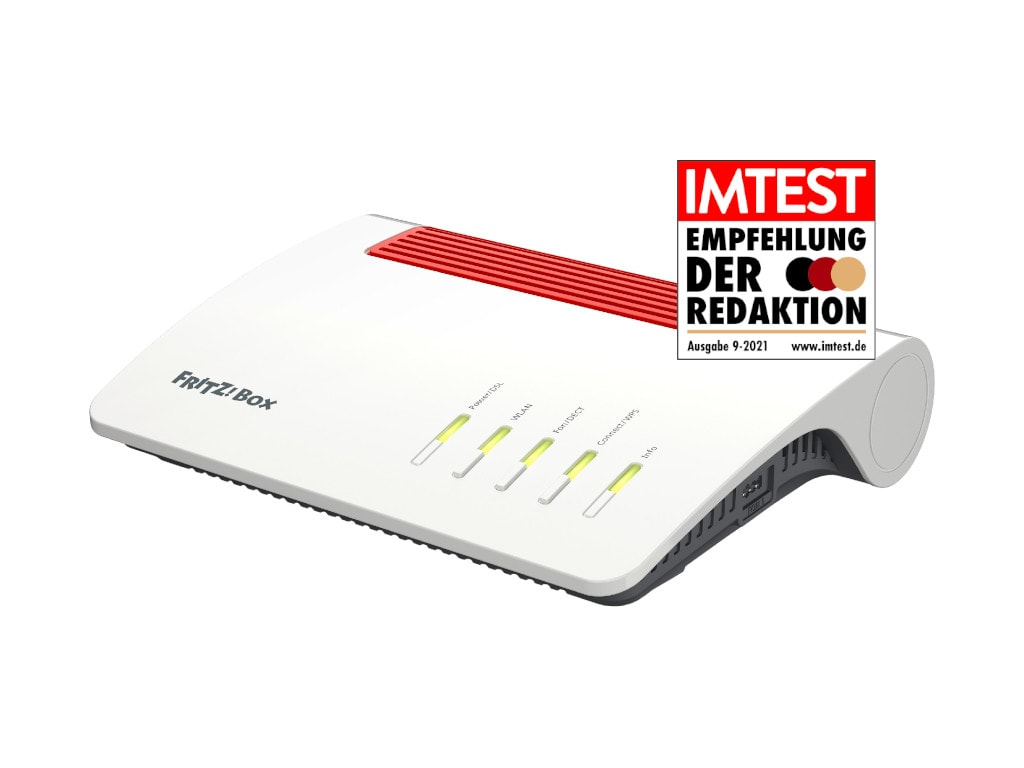 Weiß-roter Fritzbox-Router schräg von vorne auf weißem Hintergrund mit IMTEST-Empfehlungssiegel