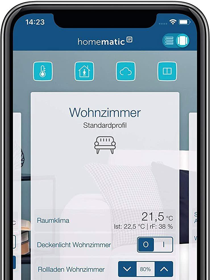 Smartphone mit Homematic App auf Bildschirm, Raumklima Einstellungen