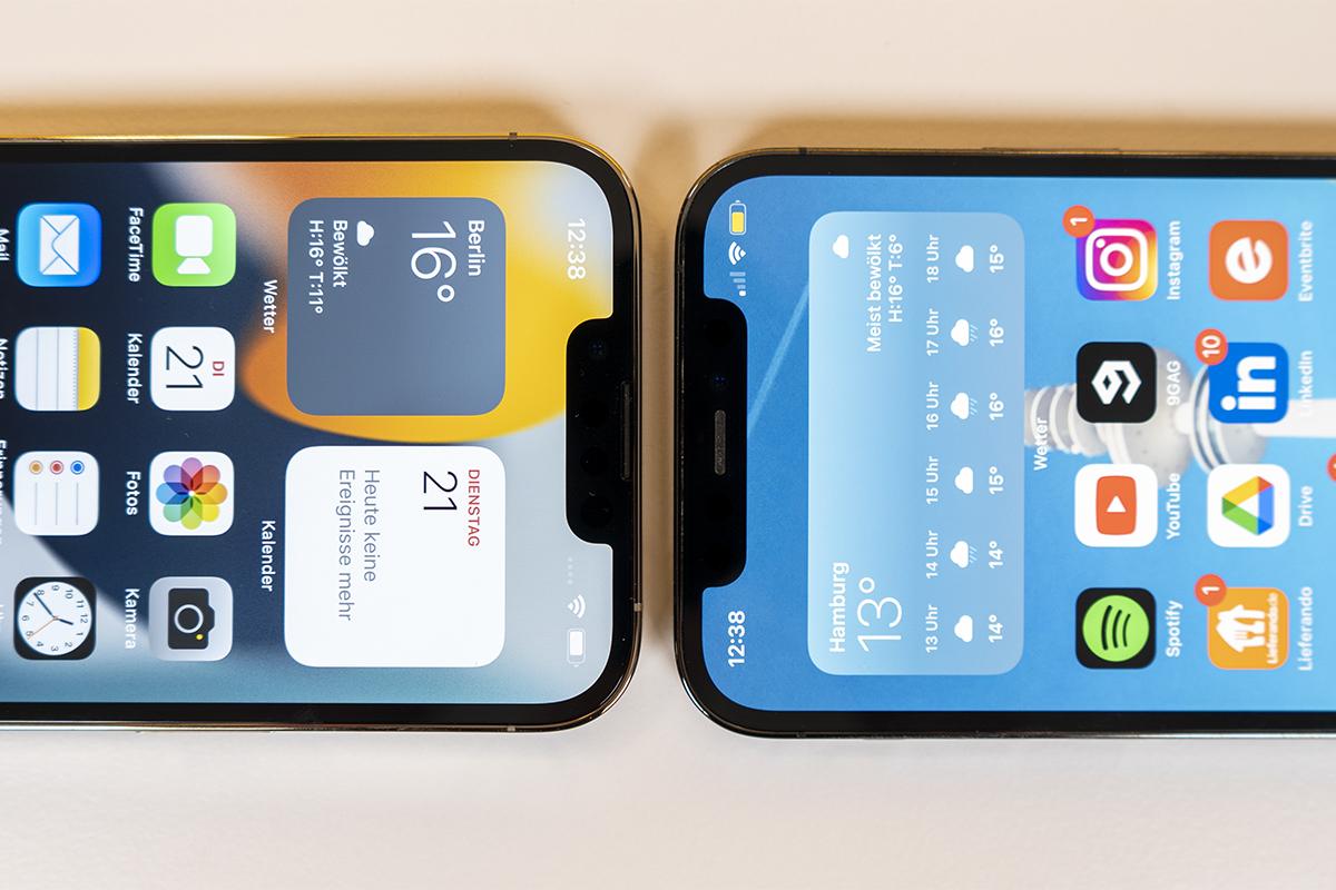 Notch Vergleich iPhone 13 und iPhone 12