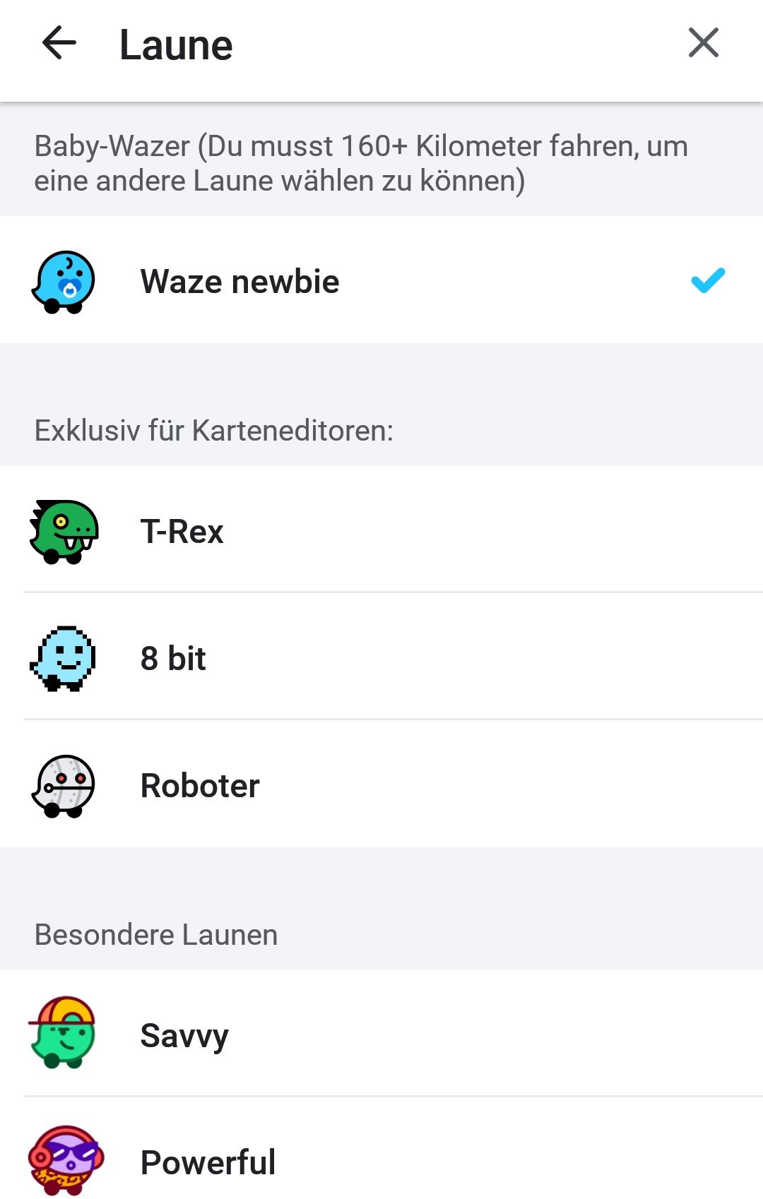 Screenshot Waze-Icons in verschiedenen Farben