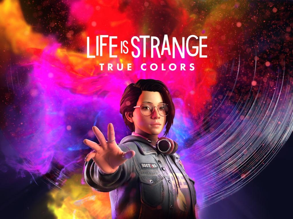 Bunte wirbelnde Farben auf schwarzem Hintergrund, in der Mitte Frau mit ausgestreckter Hand, darüber der Schriftzug Life is Strange True Colors