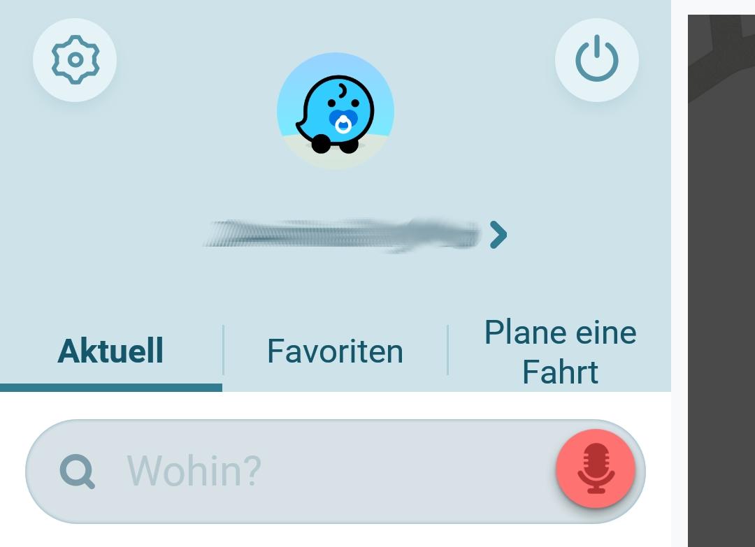 Screenshot Ausschnitt Mein Waze Menü mit favoriten und Fahrt planen