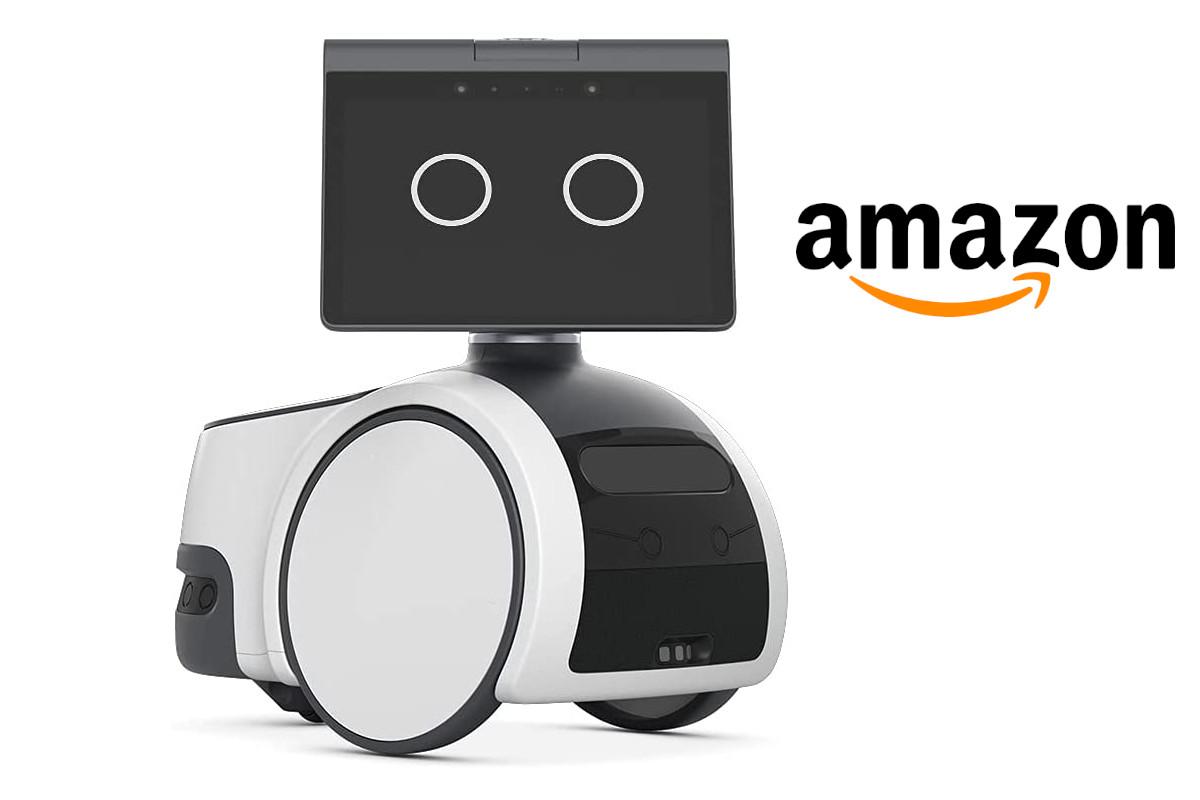 Weiß schwarzer Roboter von vorne auf weißem Hintergrund mit Amazon Logo
