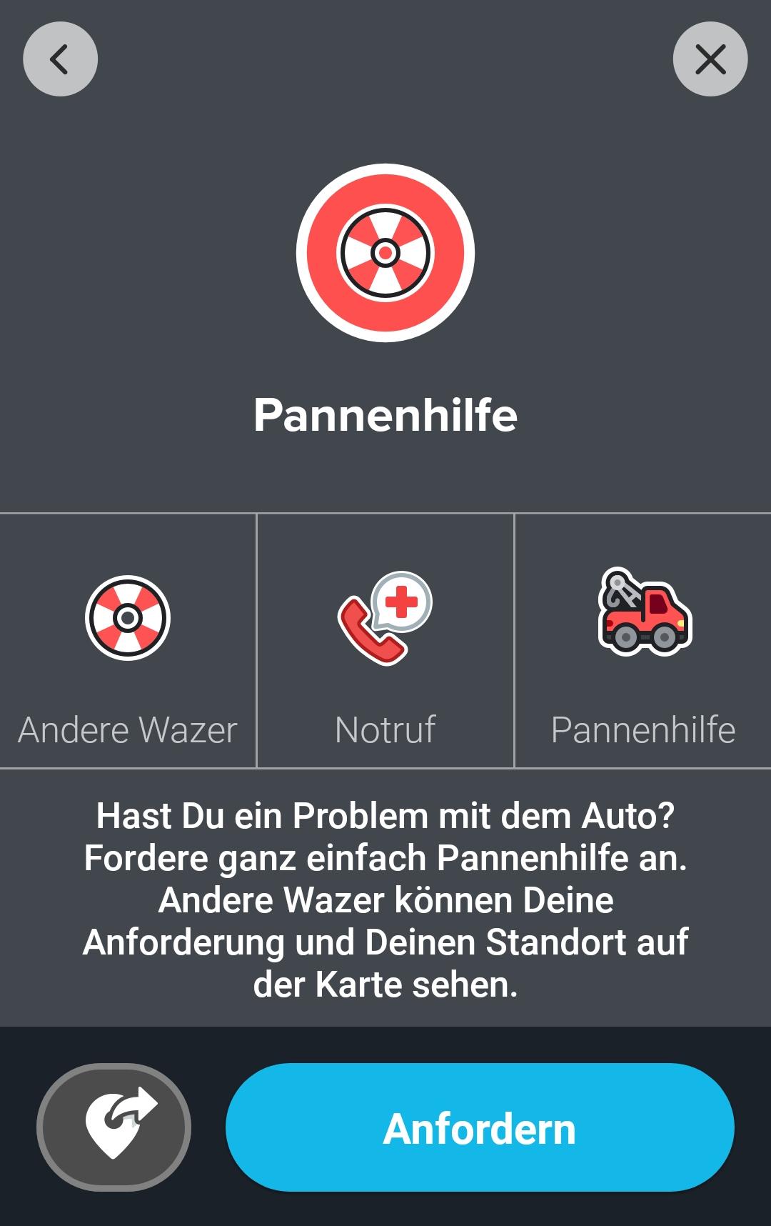 Screenshot dunkler Hintergrund mit Roten Icons