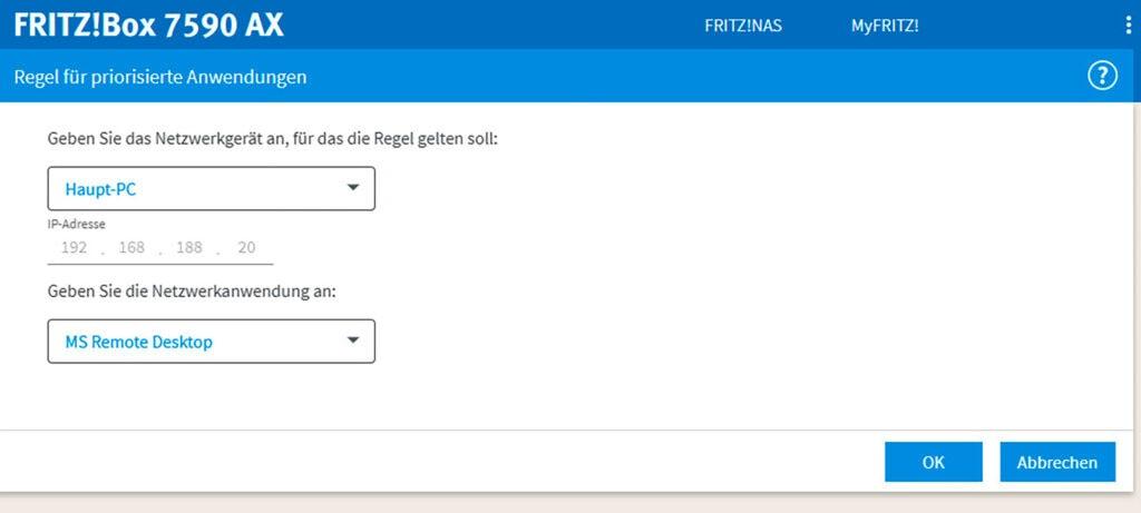 Screenshot Menü der Fritzbox zur Priorisierung von Geräten