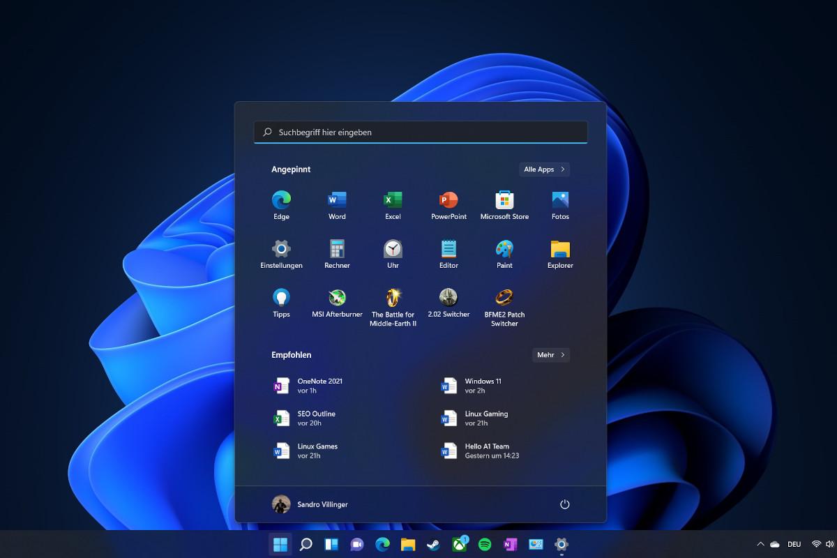 Screenshot dunkelblauer Hintergrund mit Startleiste unten und aufgeklapptem dunklen Menü in der Mitte