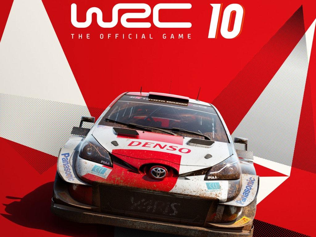 Rot weißes Rally-Auto von vorne auf rot weißem Hintergrund mit WRC 10 Schriftzug