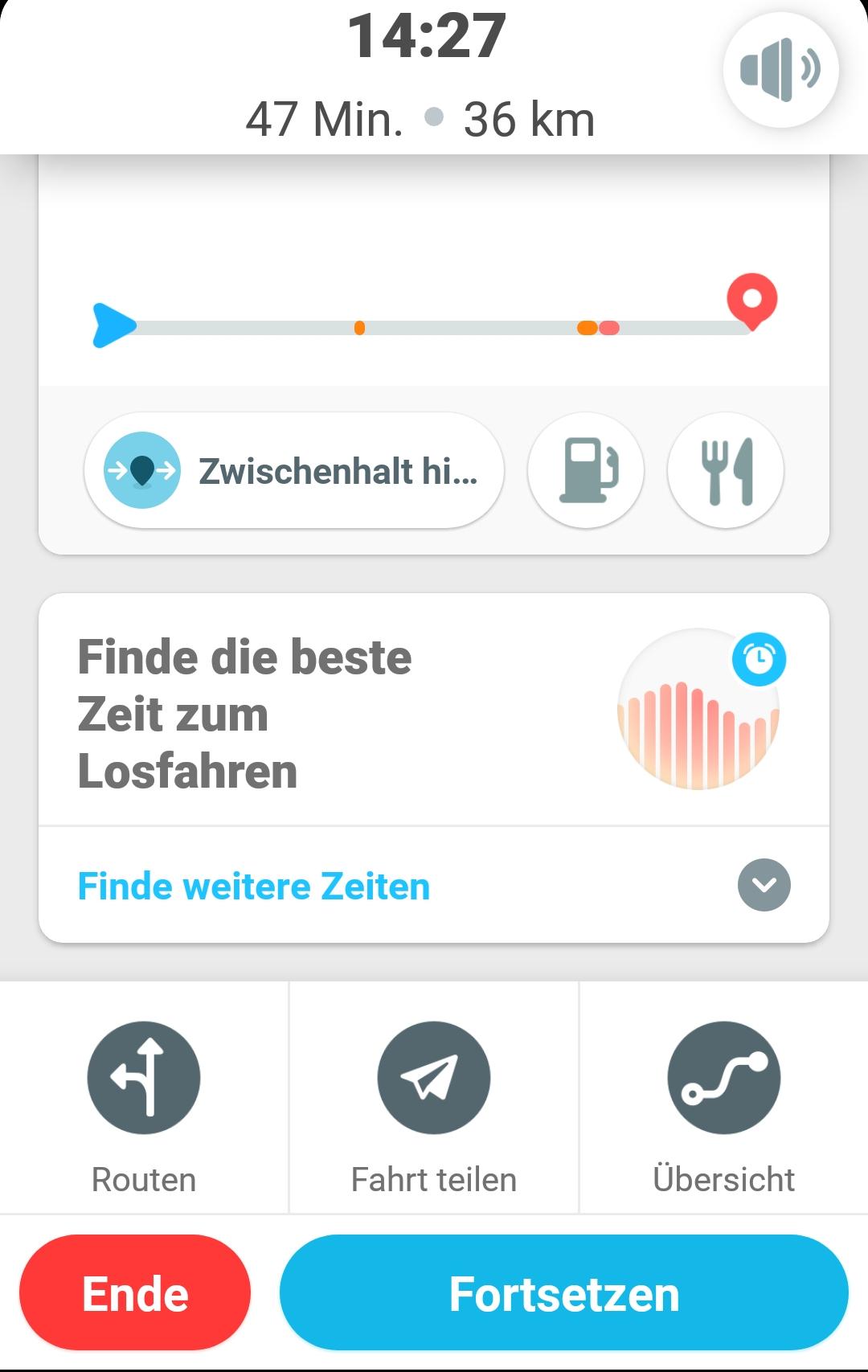 screenshot Zwischenhalt Menü oder beste Zeit wählen