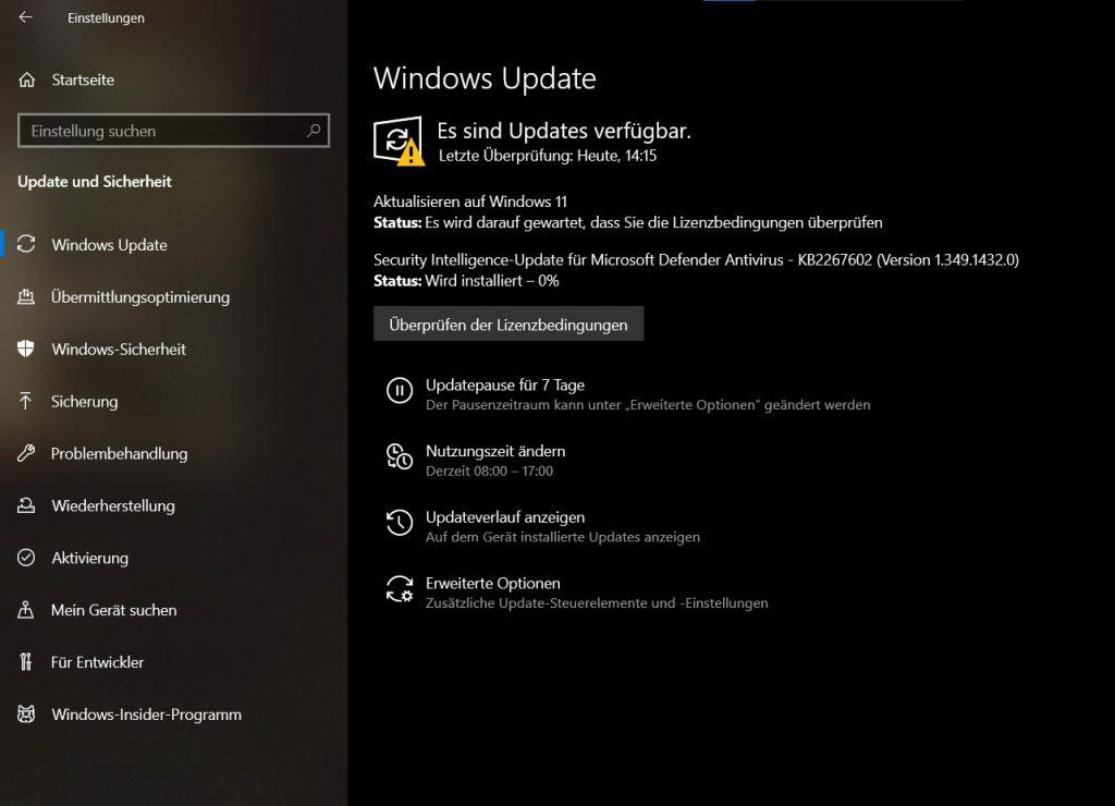 Das Bild zeigt die Windows Update Suche