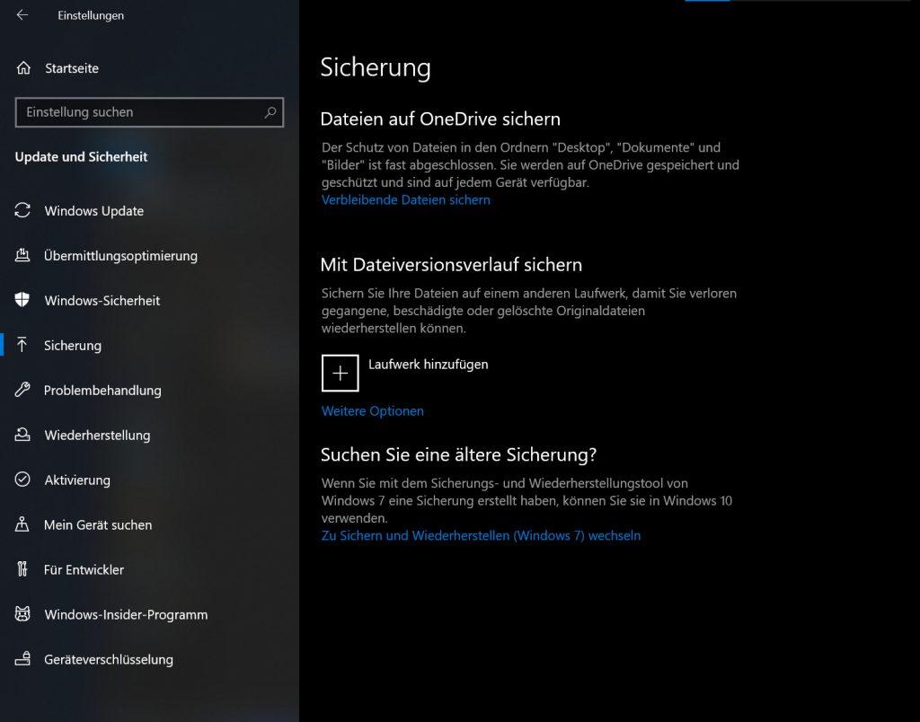 Das Bild zeigt die Sicherungsfunktion von Windows.