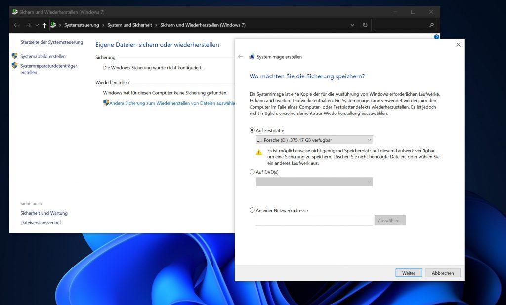 Das Bild zeigt die Auswahl der Festplatte bei der Sicherung.