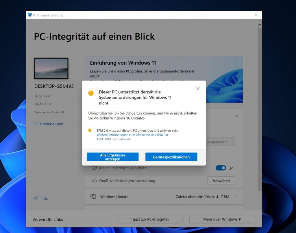 Screenshot des Tools von Microsoft zur Überprüfung der Kompatibilität
