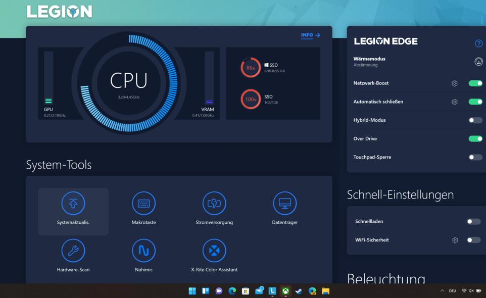 Das Bild zeigt die Lenovo Legion Software.