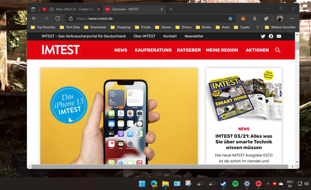 Screenshot Browser mit IMTEST Seite