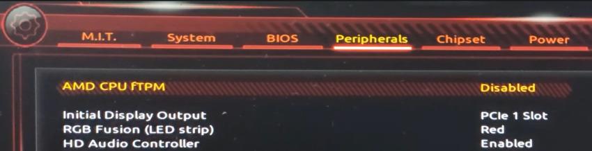 Das Bild zeigt die TPM-Einstellung im AMD-BIOS