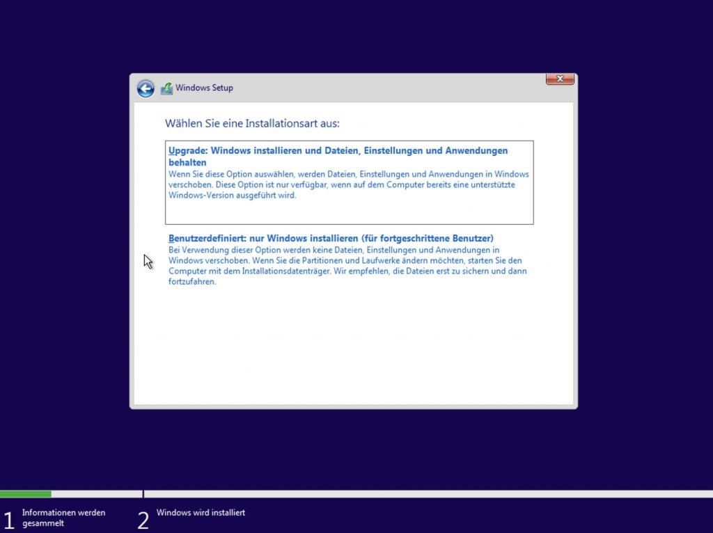 Das Bild zeigt den Windows Installer.