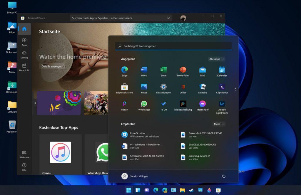 Das Bild zeigt den neuen Desktop von Windows 11.
