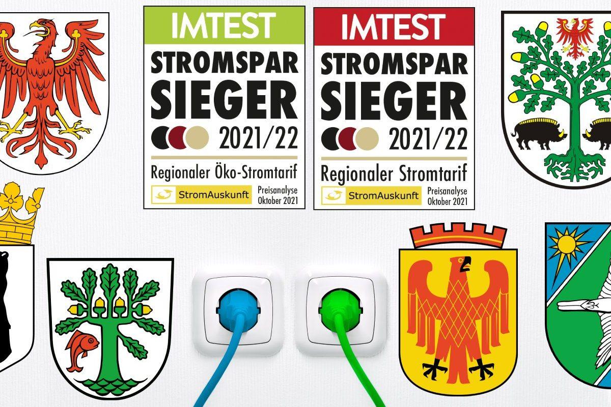 Das Bild zeigt die Wappen der Städte und die Siegel der Stromsparsieger