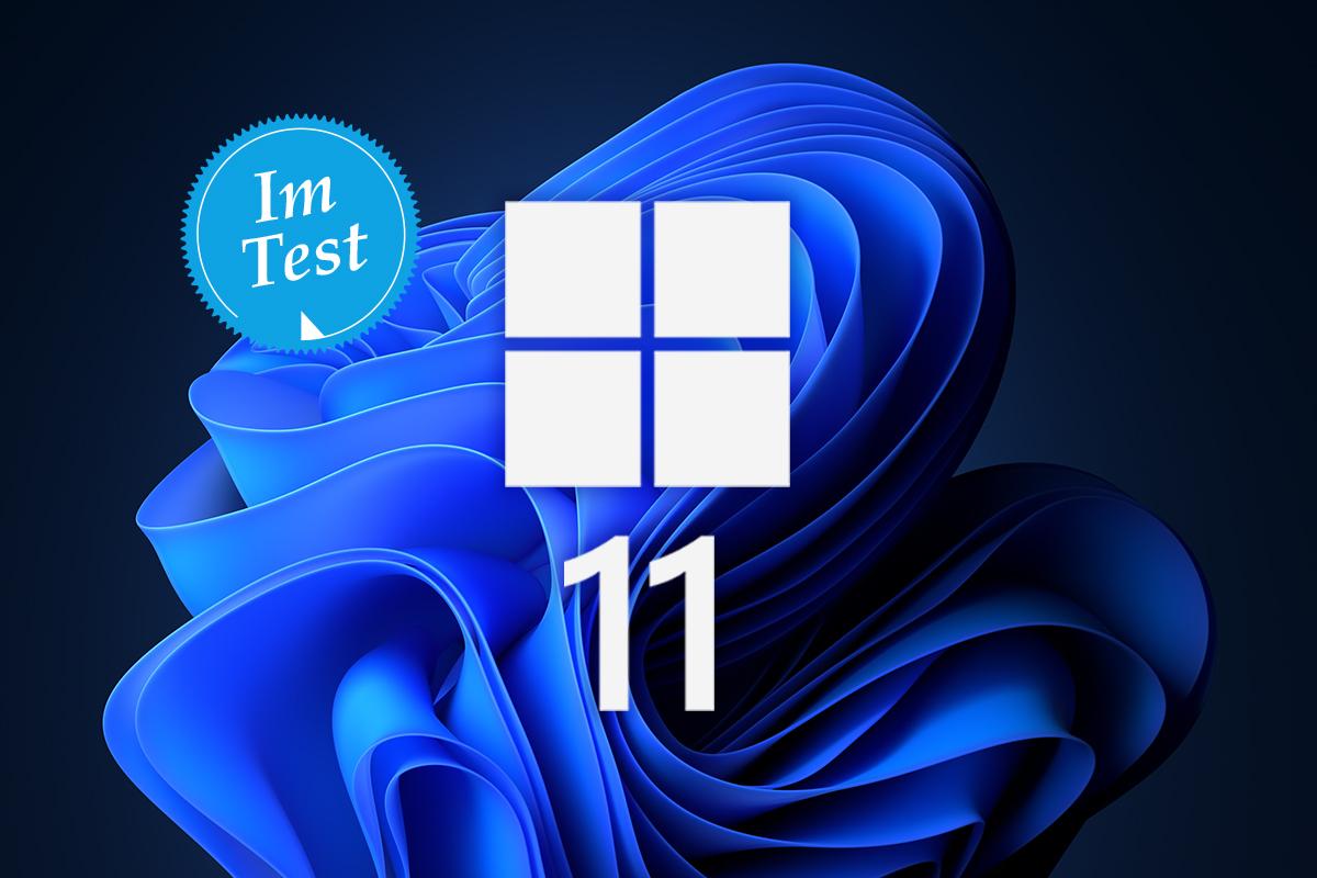 blaue Form auf schwarzem Hintergrund in der Mitte Windows Logo und die Zahl 11
