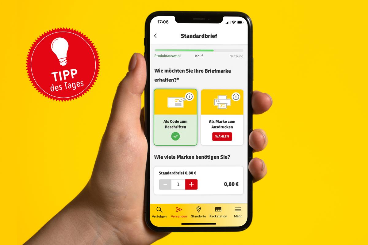 Das Bild zeigt die App der Deutschen Post auf einem Smartphone