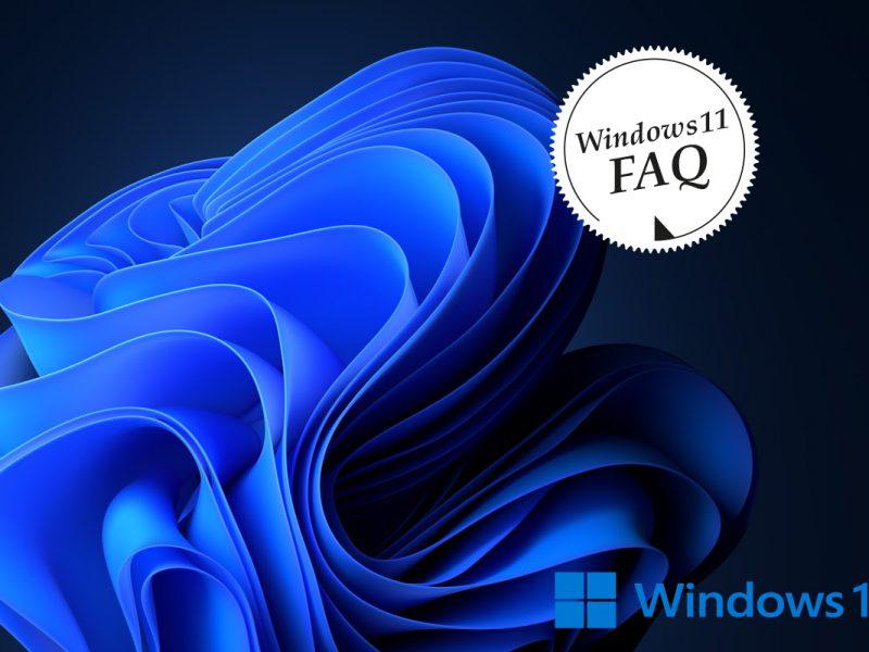 Windows 11 Logo mit dunklem Hintergrund und Wirbel. Weißer Button Windows11 FAQ