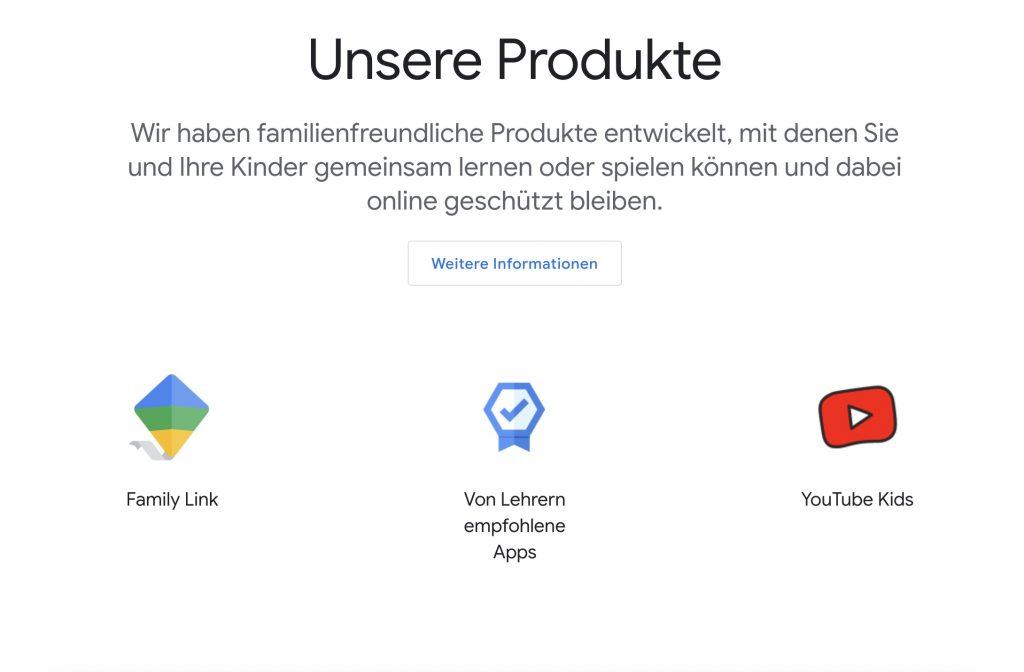 Die Oberfläche des Google Portals für Familien