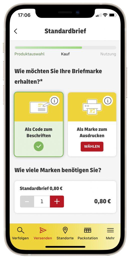 Das Bild zeigt die App der Deutschen Post auf einem Smartphone.