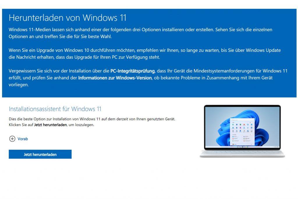 Windows 11 Installationsassistent downloaden