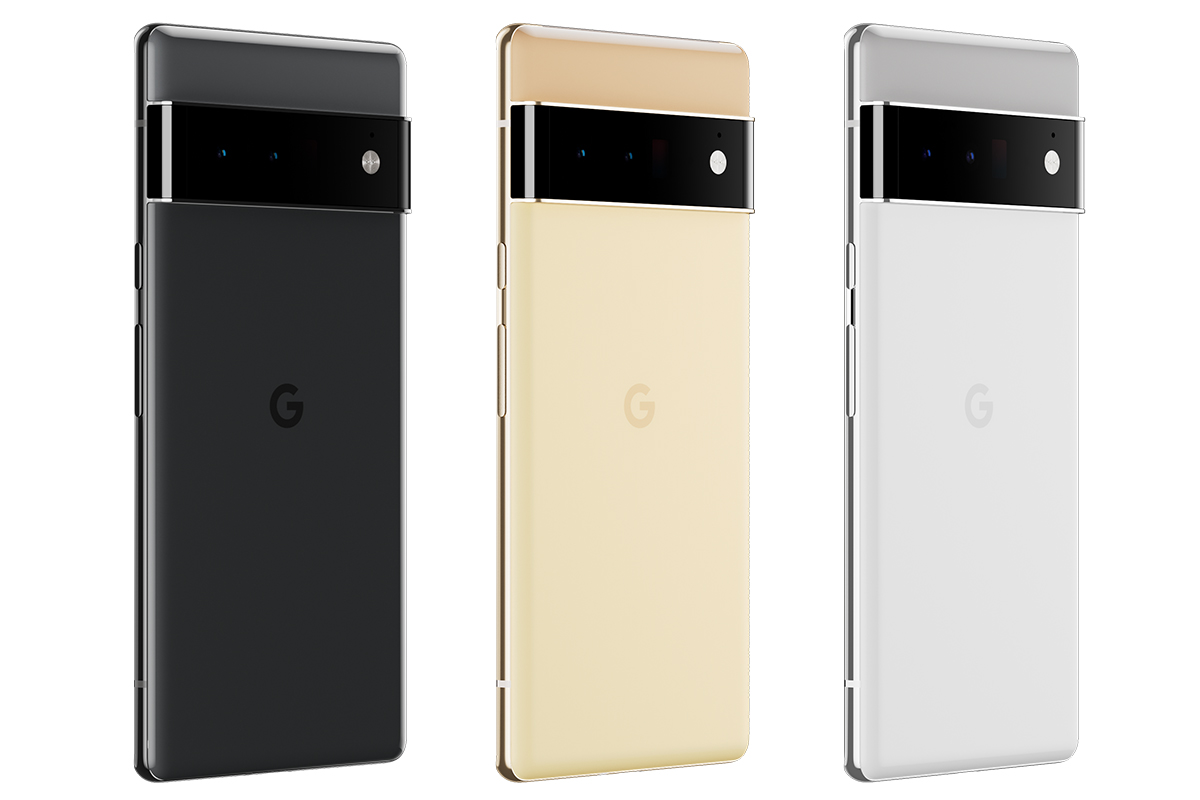 Rückseitenansicht des Google Pixel 6 Pro in drei Farbausführungen.