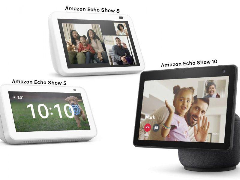 Hier sind die verschiedenen Echo Show-Modelle zu sehen.
