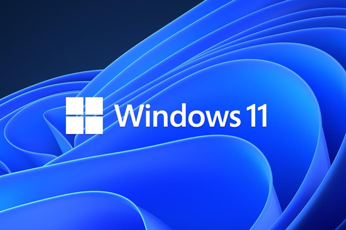 Blaue Form auf schwarzem Grund mit Windows 11 Logo