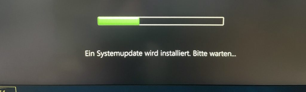Das Bild zeigt einen Fortschrittsbalken für das BIOS-Update