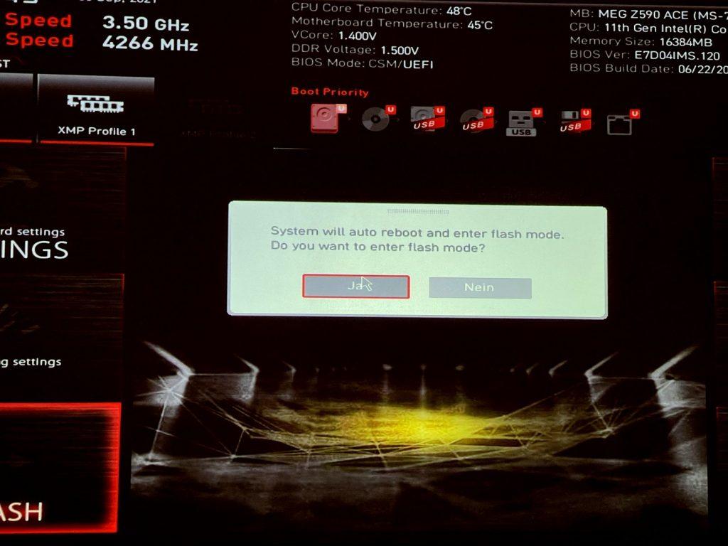 Das Bild zeigt ein BIOS