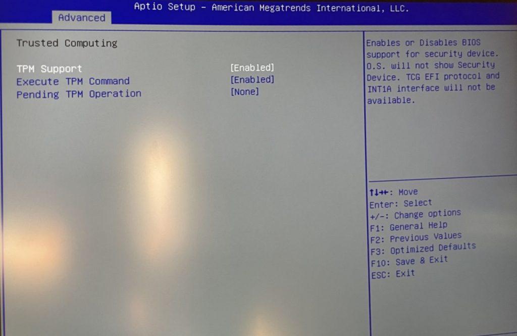 Das Bild zeigt die TPM-Einstellung in einem anderen BIOS.