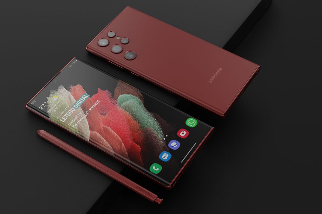 Ein mögliches Samsung Galaxy S22 Ultra mit Ansucht der Vorder- und der Rückseite – inklusive Bildschirmstift und neues Annordnung der Kameralinsen im Wassertropfenformat.
