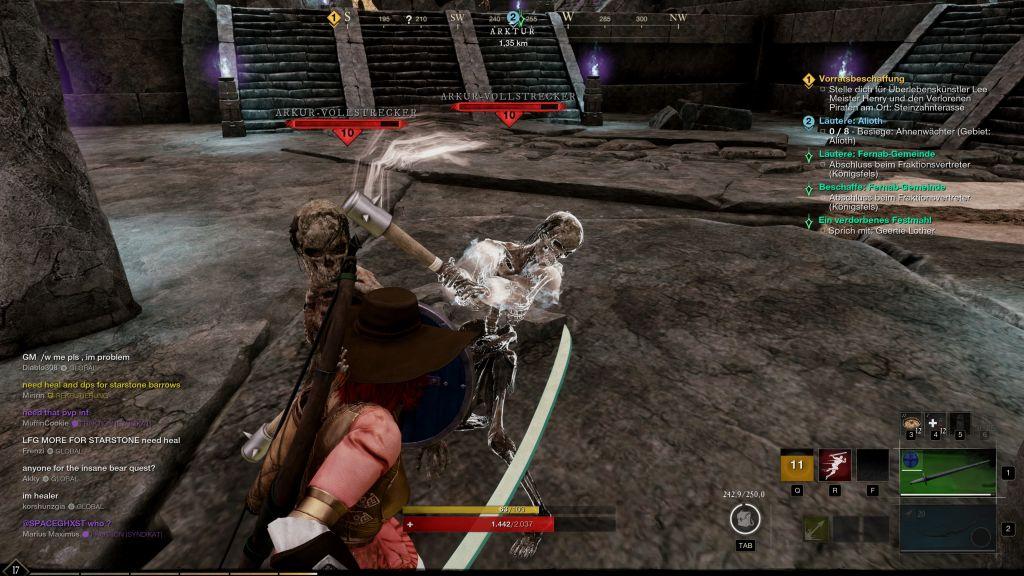 Das Bild zeigt den Kampf mit einem Skelett.