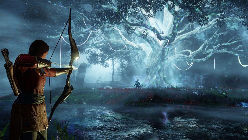 Es ist eine Spielszene mit einem schönen Baum und strahlendem Licht zu sehen.