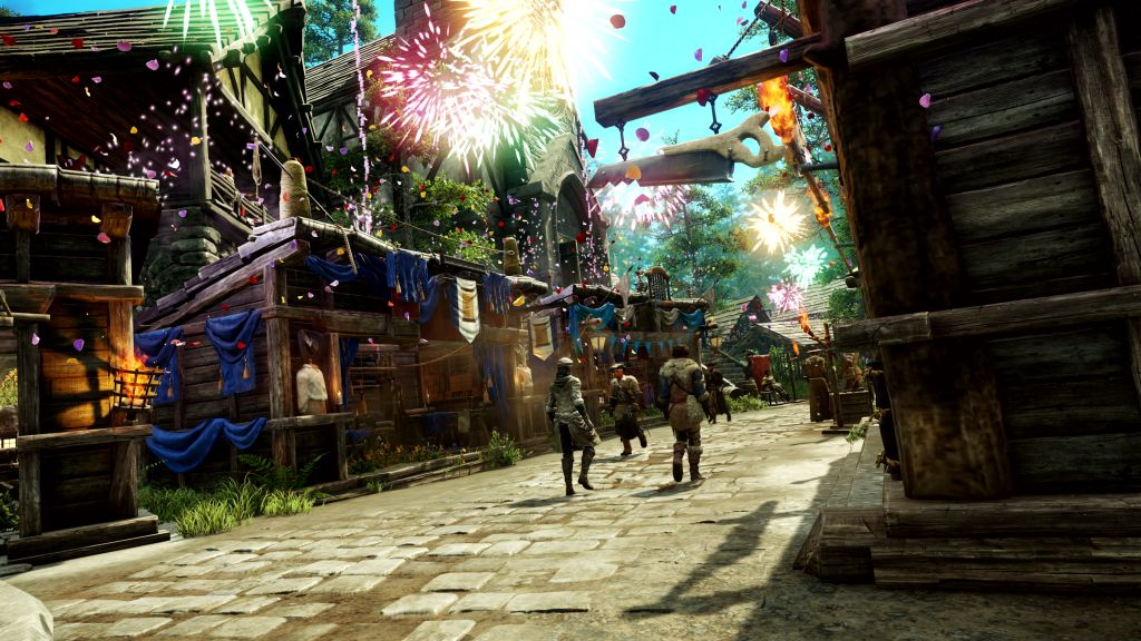 Das Bild zeigt eine Siedlung im Spiel