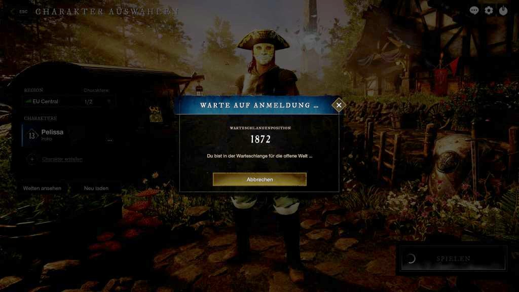 Das Bild zeigt den Warte-Screen des Spiels.