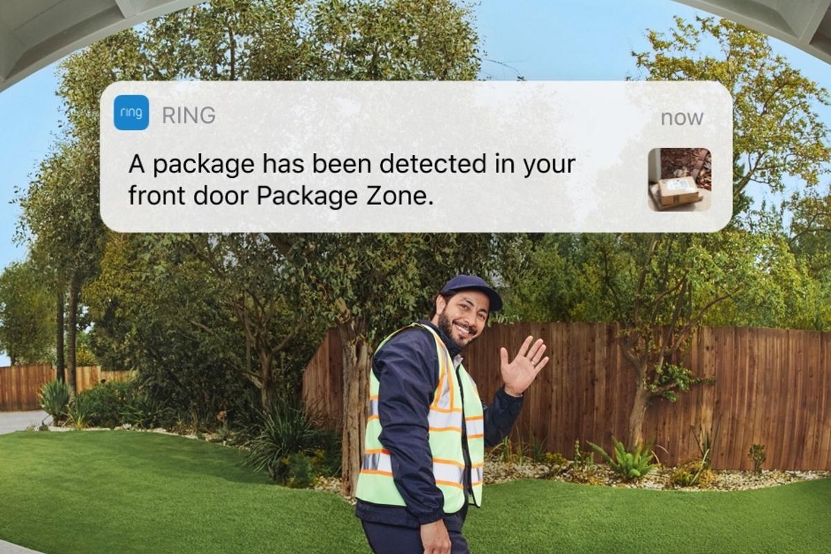 Paketbote und Ring-Benachrichtigung