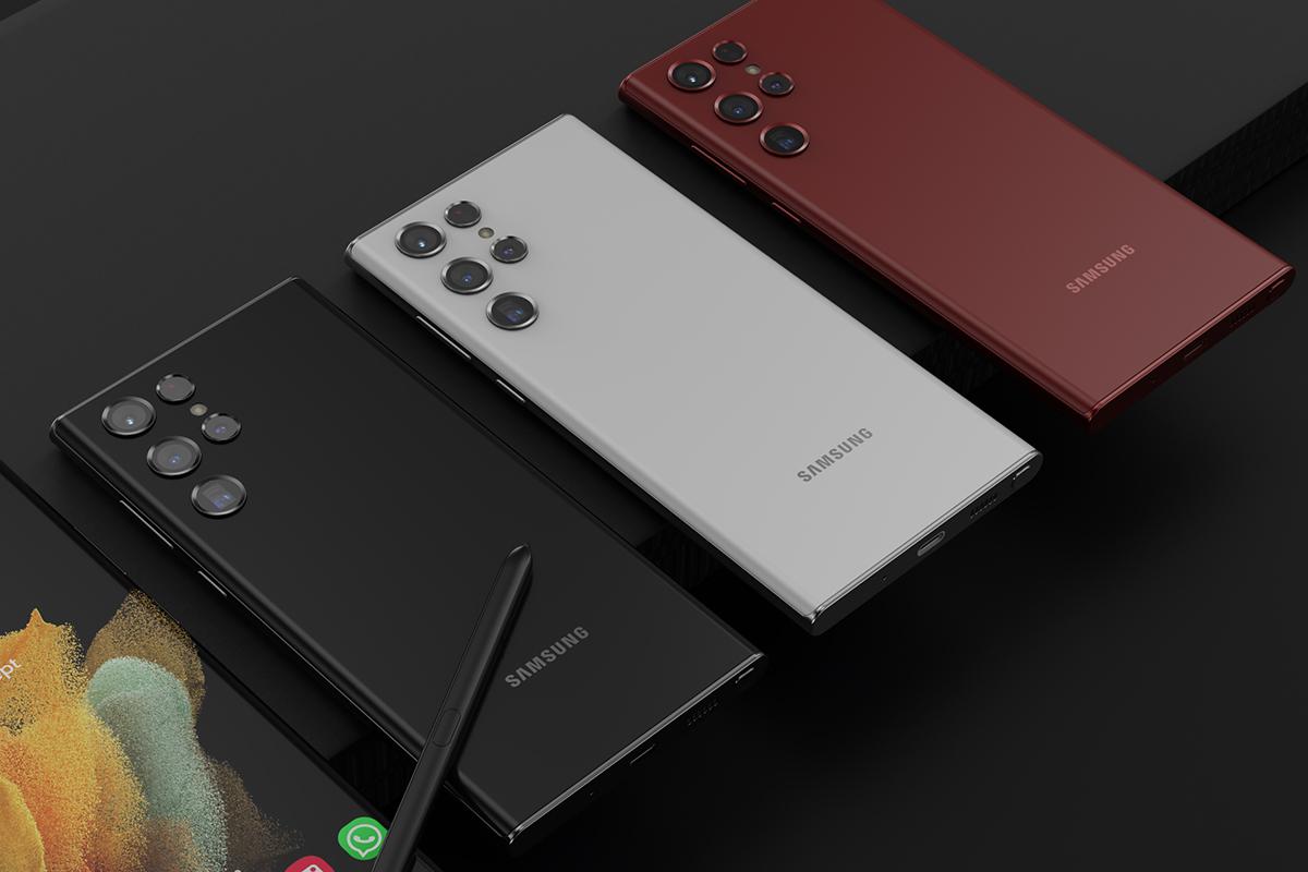 Samsung Galaxy S22 Ultra mit möglicherweise neuer Kameraanordnung in Wassertropfenform.