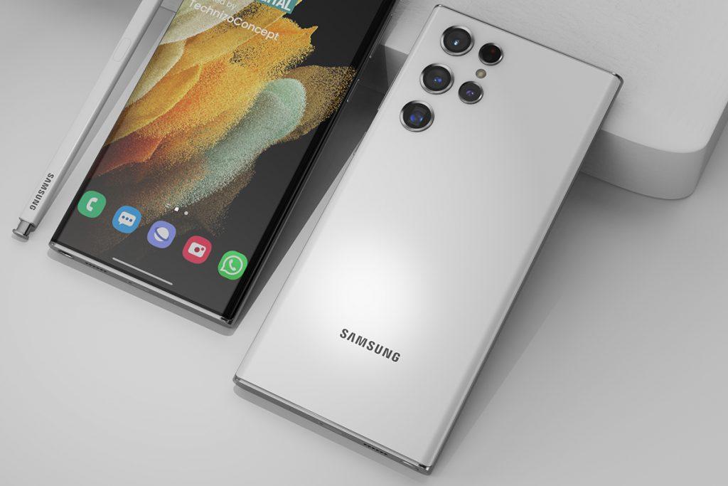 Vorder- und Rückseite des Samsung Galaxy S22 Ultra mit Kamera-Dsign im Wassertropfenformat und Bildschirmstift.