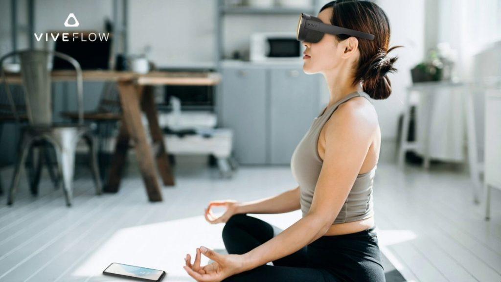Frau meditiert mit Vive Flow